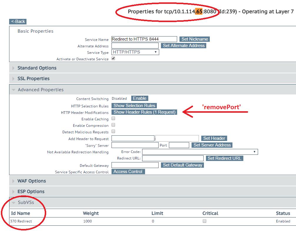 Port 8080 Redirect to HTTPS on port 8444 – Kemp Technologies